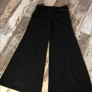 Black Halo low cut black bank with flare leg